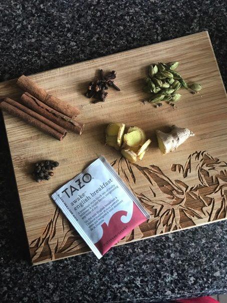 Ingredients for homemade yogi stovetop chai tea